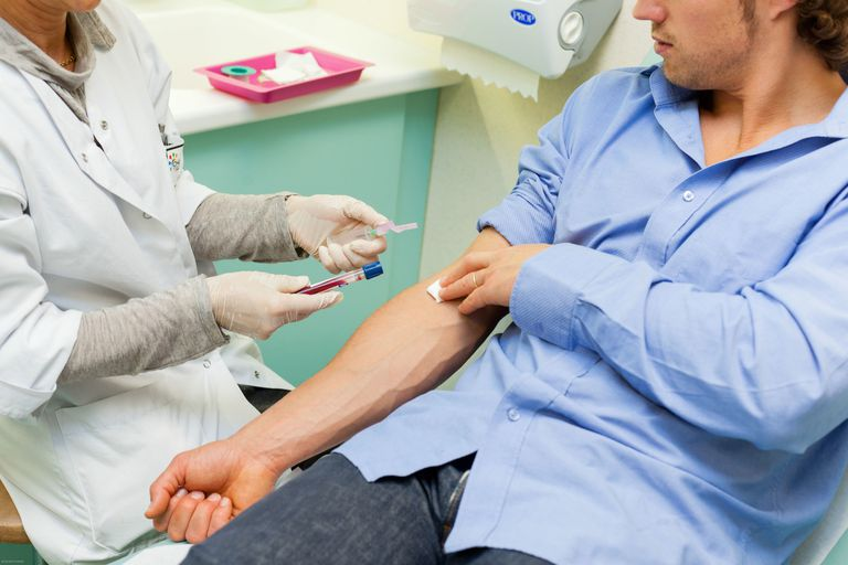 man getting STD blood test