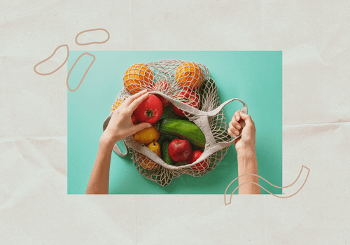 Fruits in a mesh bag.