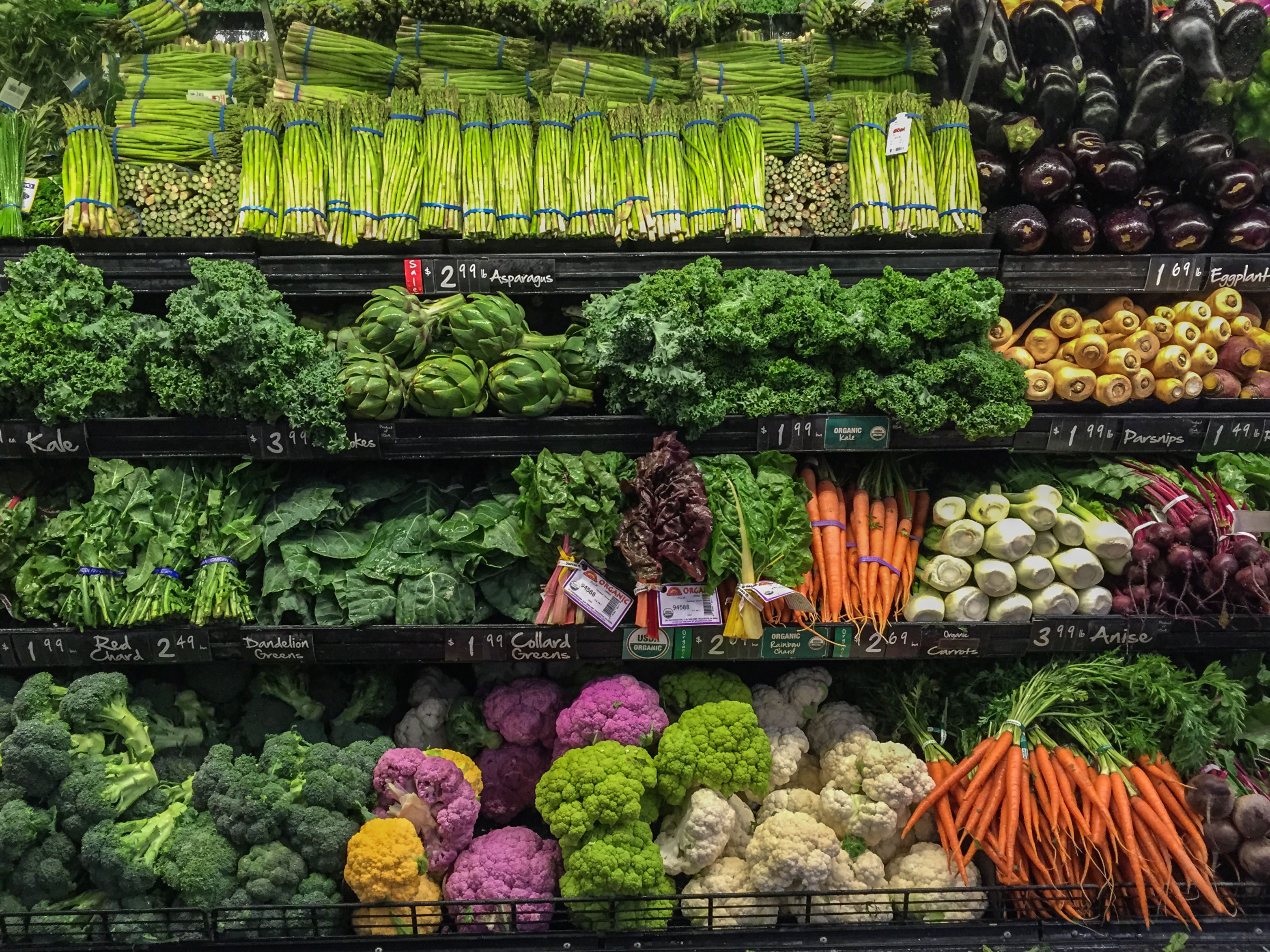 Photo of vegetables for sale in the grocery store