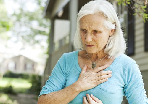 A woman suffering from heartburn.