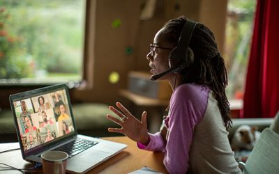 Woman video conferencing.