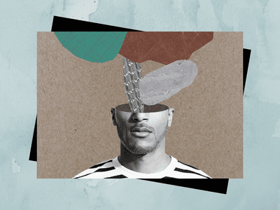 A man's thoughts illustration.