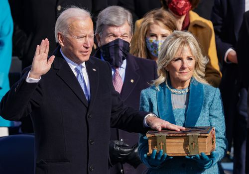 Joe Biden being sworn in as the 46th president of the United States.