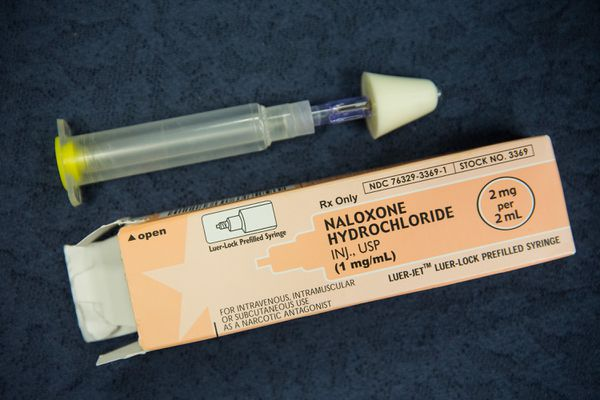 Naloxone preloaded syringe with an intranasal applicator attached