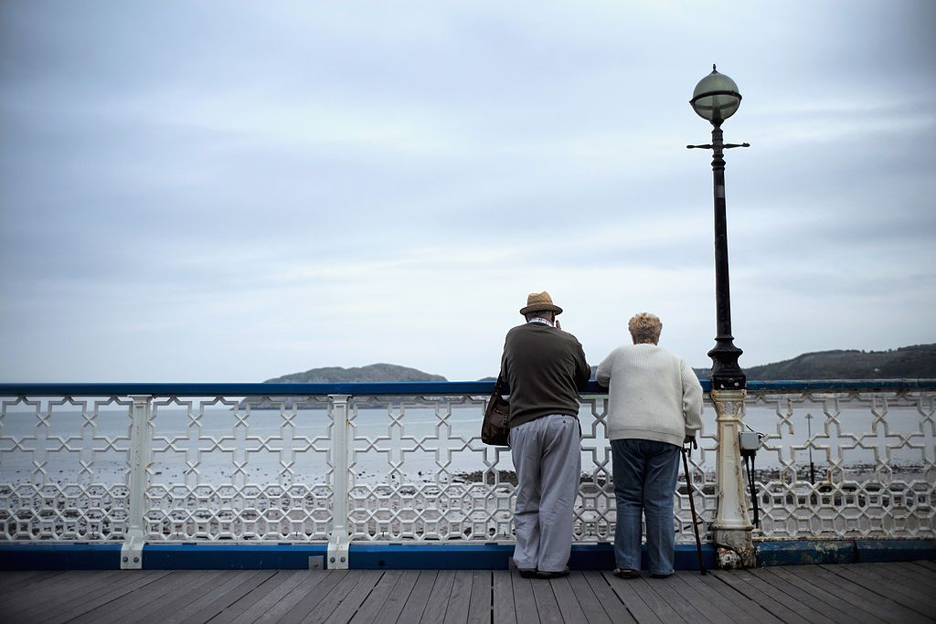 Elderly couple enjoying a view
