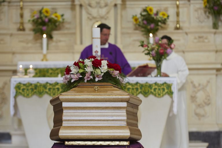 Funeral service in a church