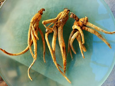 ginseng root on plate