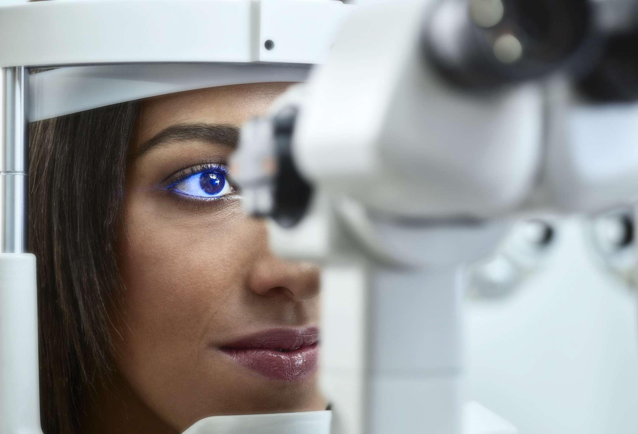 Woman at optometrist