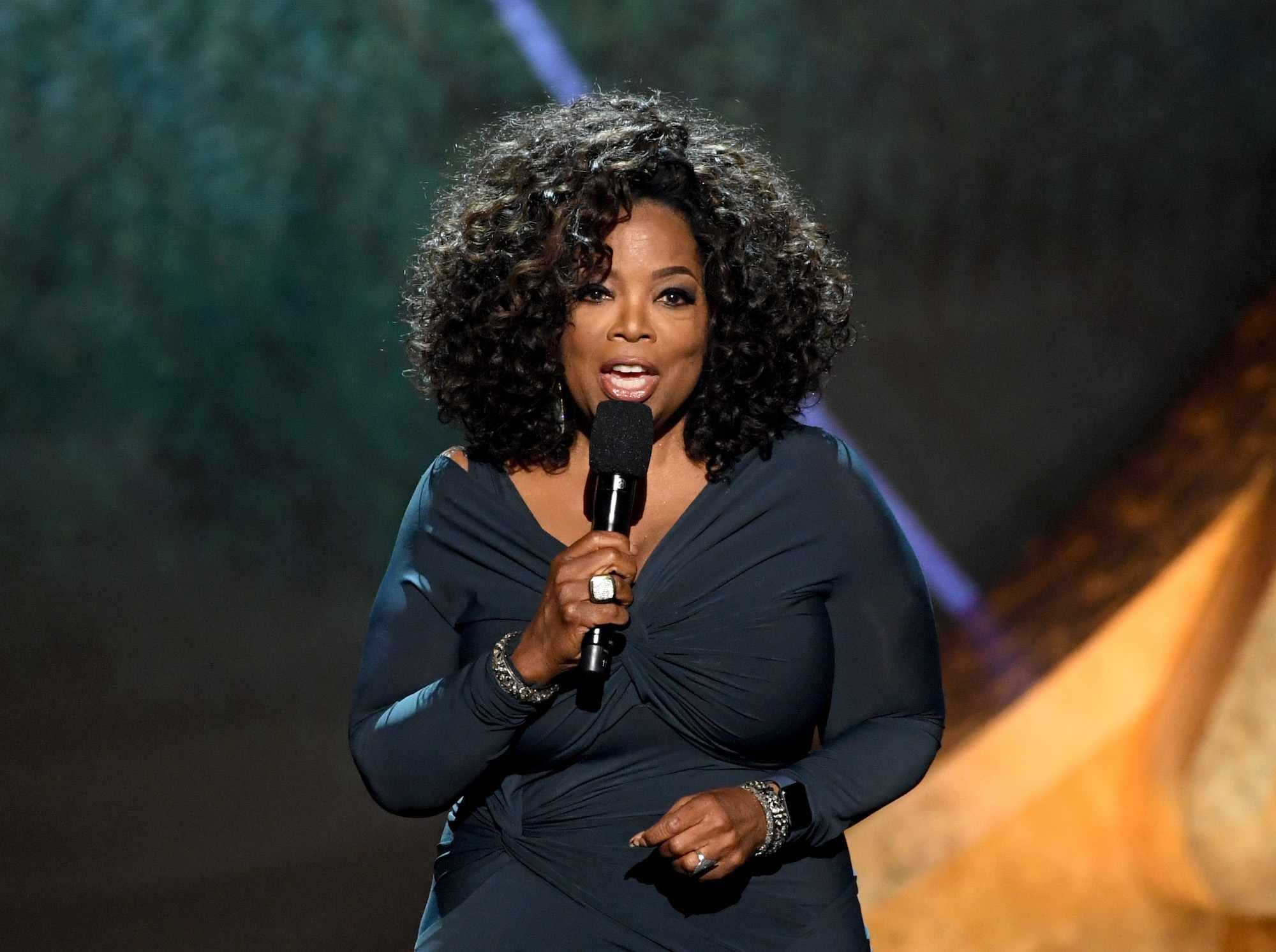 Oprah Winfrey talking to an audience