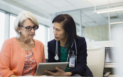 Woman consulting with her doctor