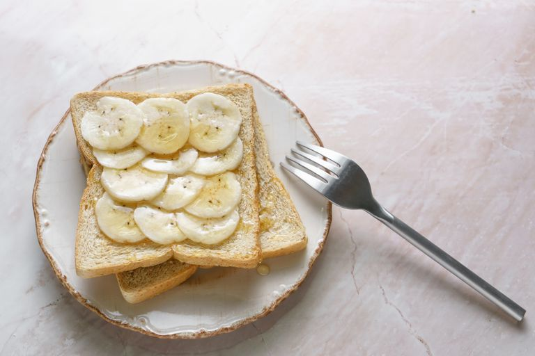 White toast with banana slices on top