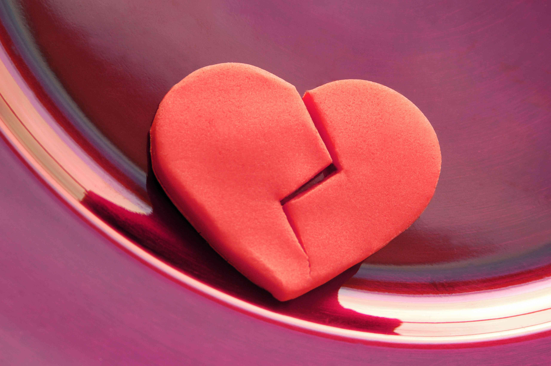 Broken heart on a plate