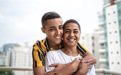 Portrait of a happy homosexual couple