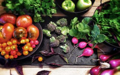 Various fruits and vegetables on a table