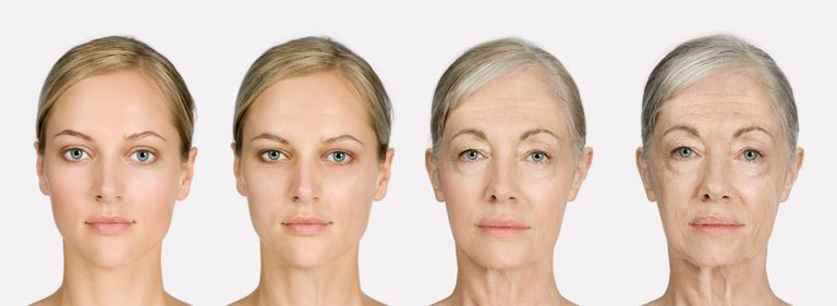 Computer program showing young woman what she will look like as she ages