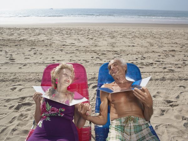 Elderly couple sunning themselves