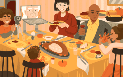 Illustration of Family celebrating Thanksgiving while doing a video call with Grandma