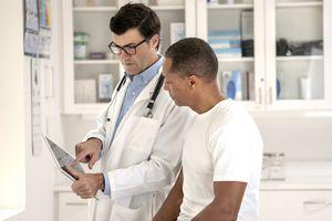 Senior man getting a medical exam
