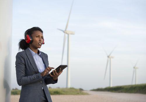 Engineer at wind turbine farm