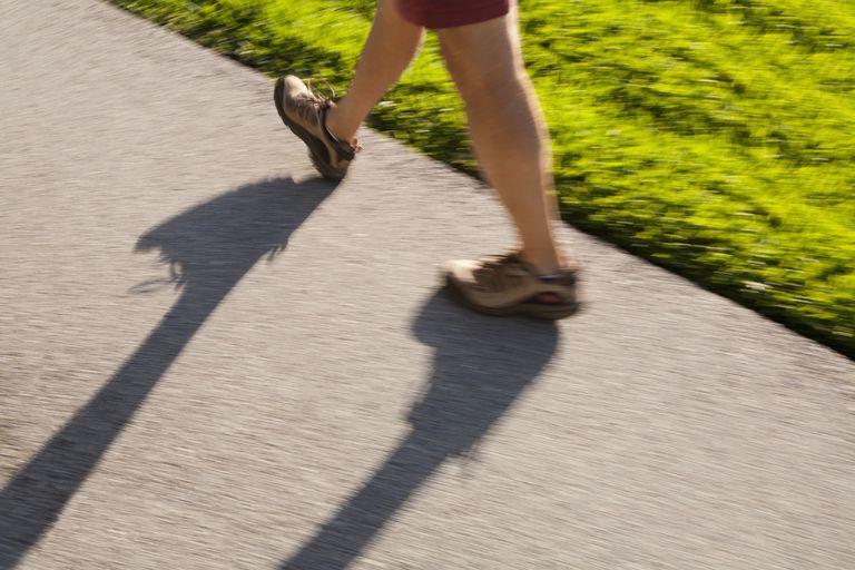 man's feet walking