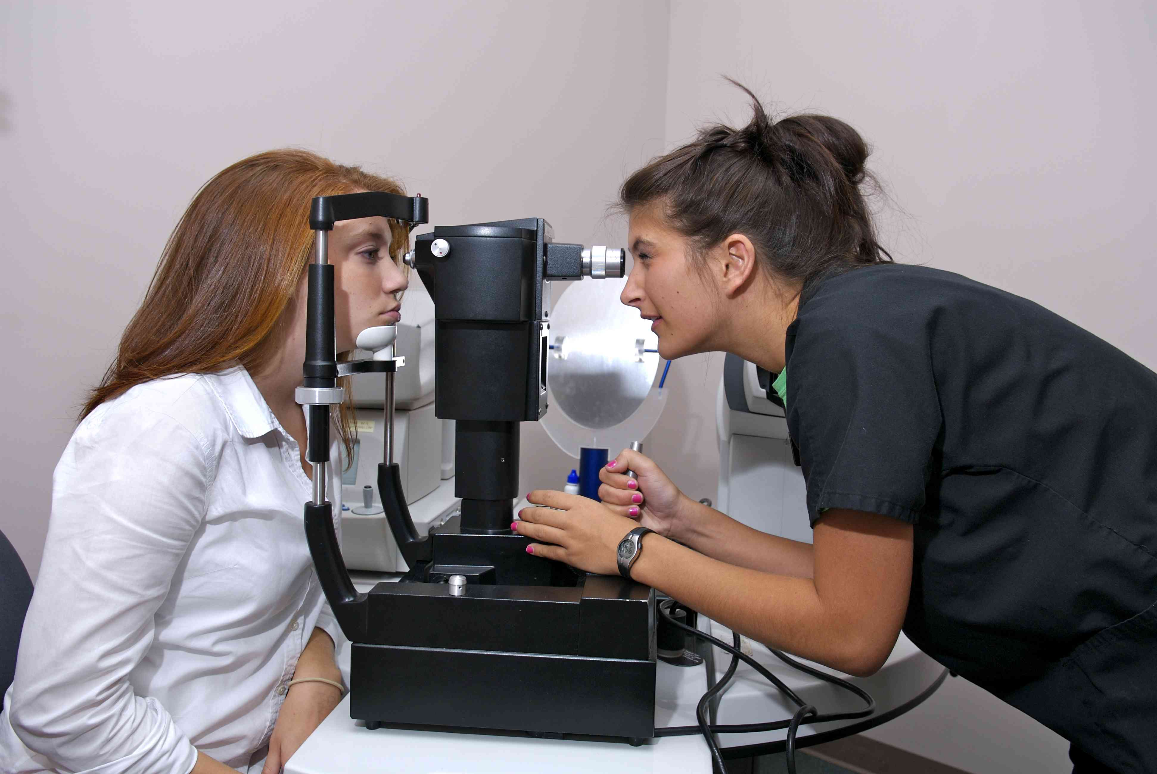 A woman undergoing a glaucoma test