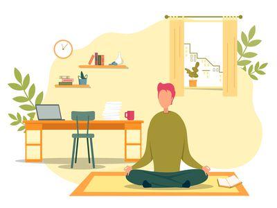 Illustration of man practicing meditation.