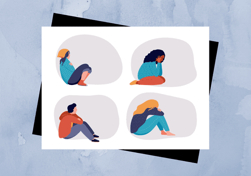 Illustration of people struggling with mental health.
