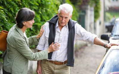 Couple Senior man suffering from pain chest.