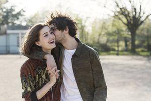 Young man kissing girlfriend