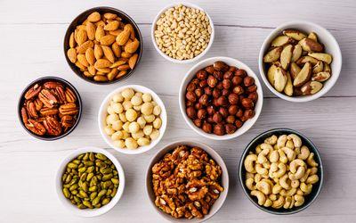 Bowls of various tree nuts