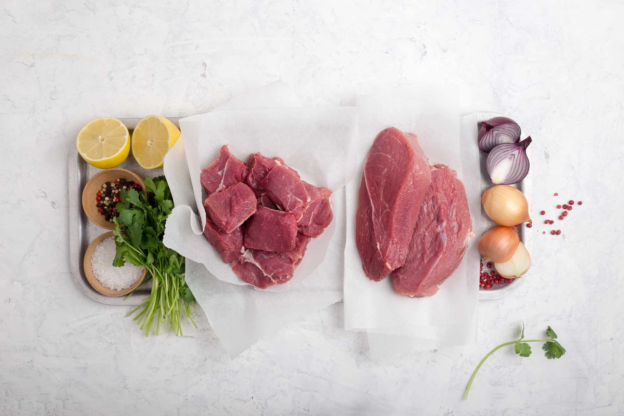 Selection of fresh cuts of beef