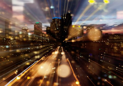 City lights being blurred by vision