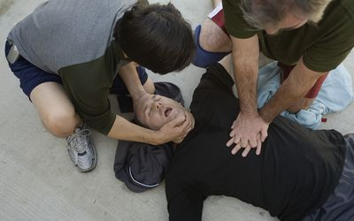 A man in cardiac arrest