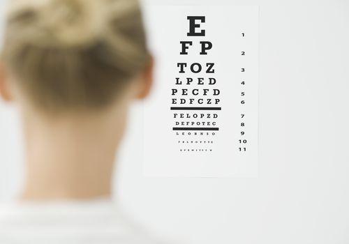 a woman taking an eye exam