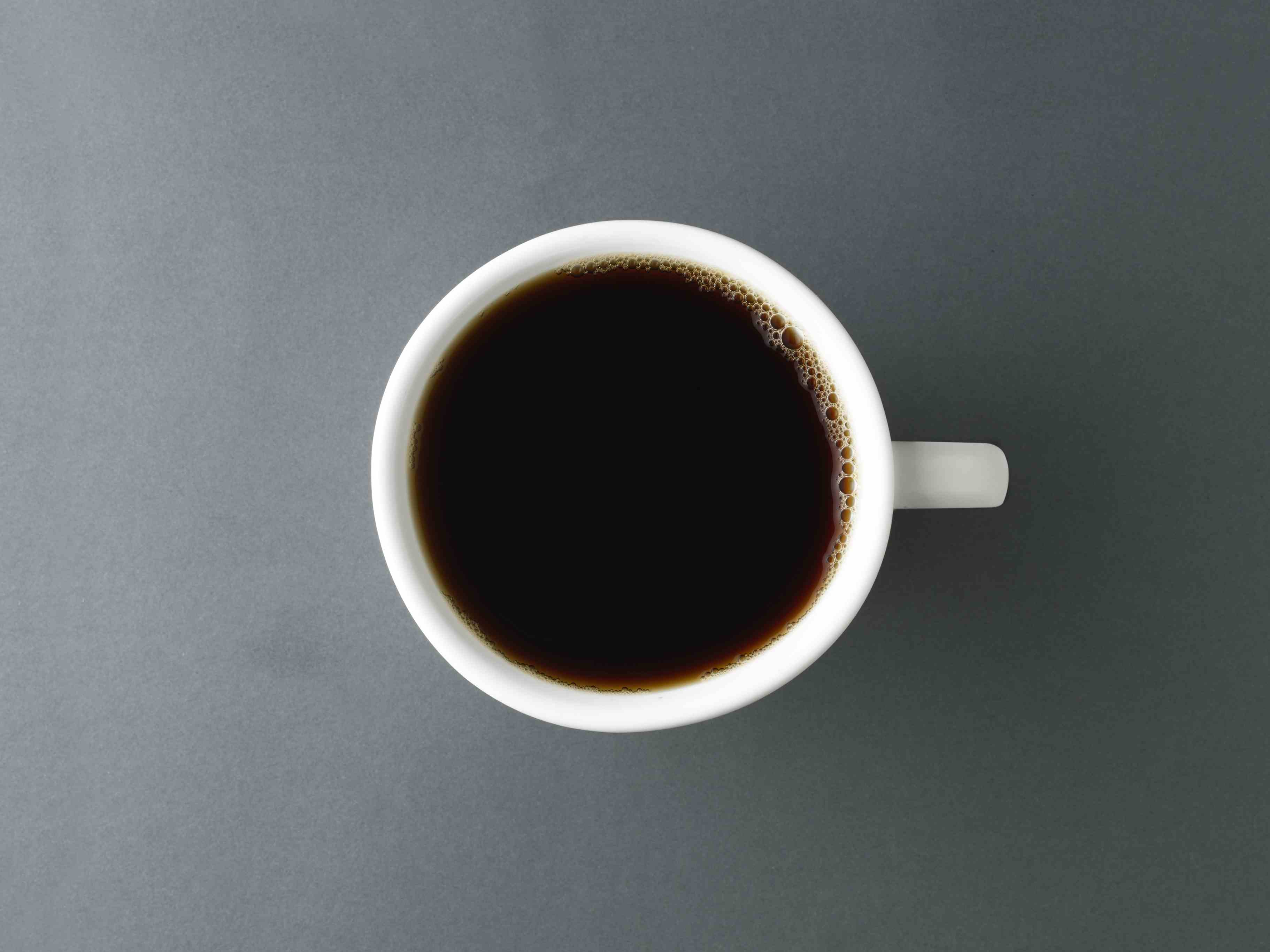 overhead shot of Cup of coffee