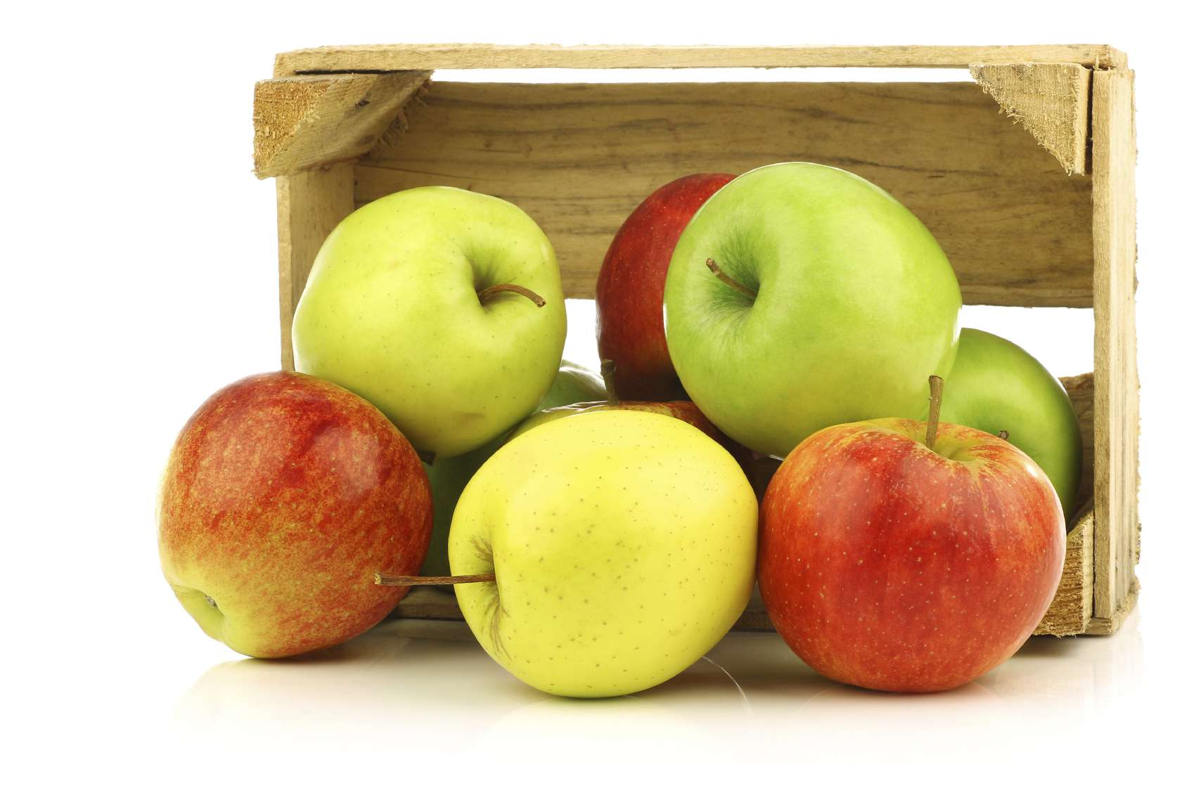 Apples pouring out of a crate