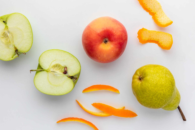 Apples, pear, and citrus peel