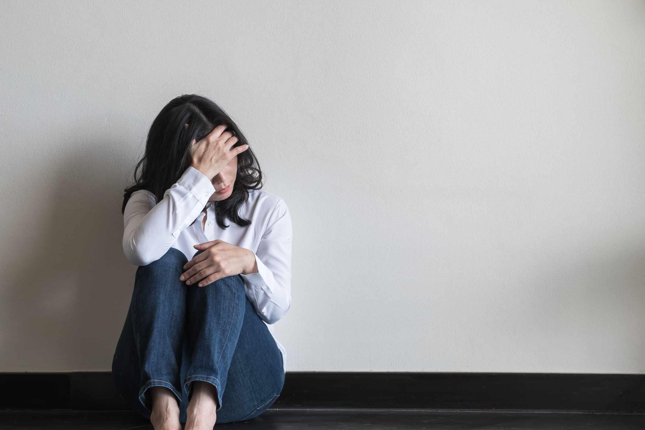 A woman feeling anxious