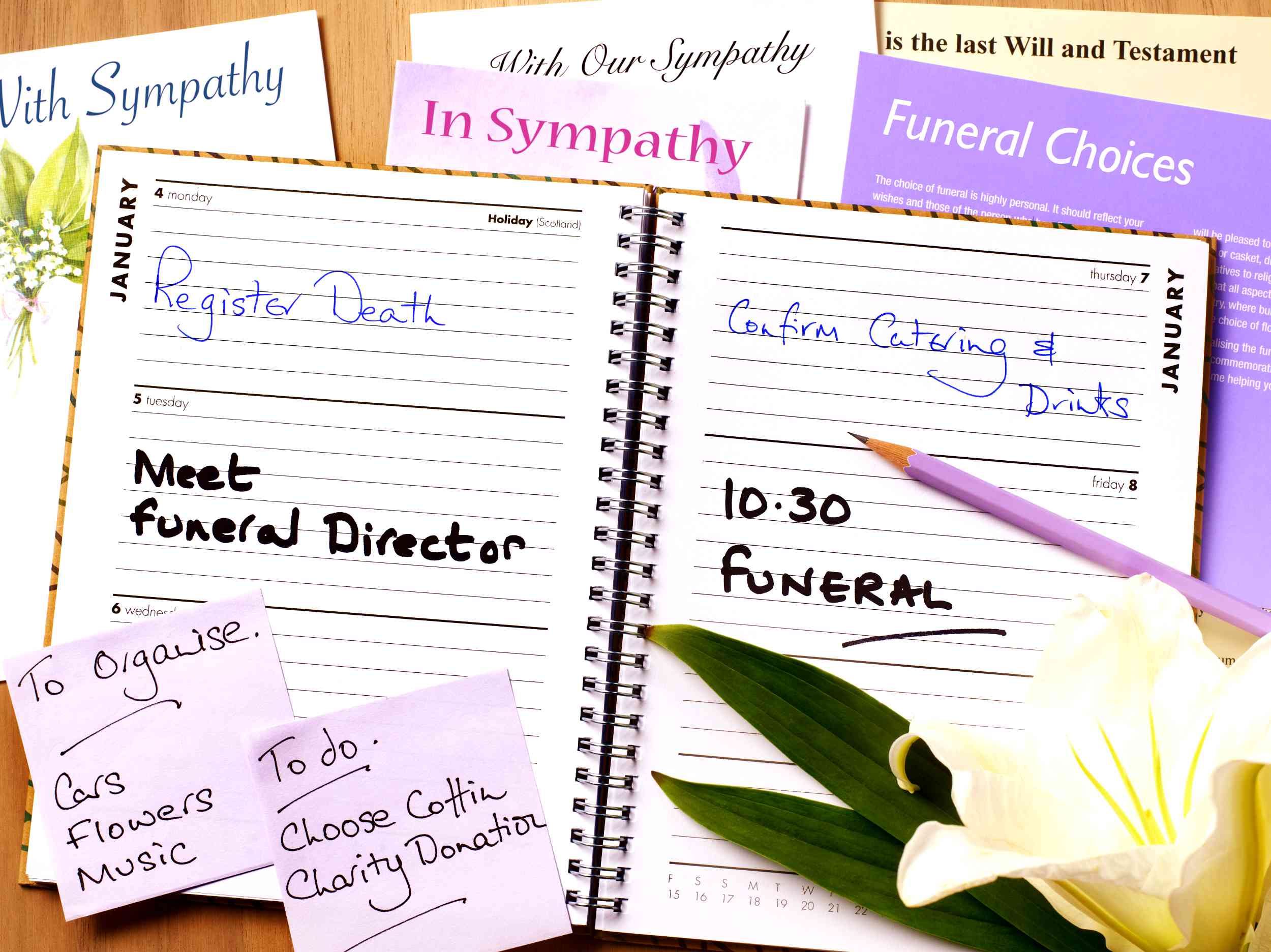 A funeral planning date book and info
