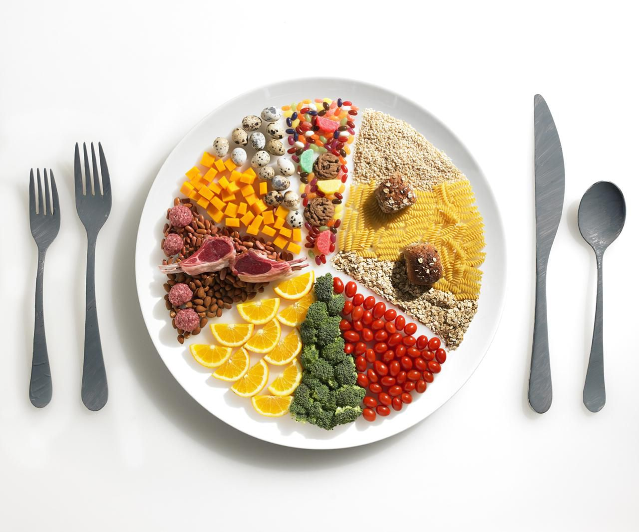 Plate with food divided into segments on a white table with flatware