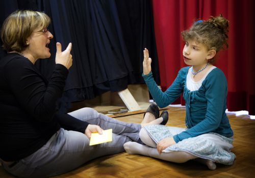 tutor with deaf child