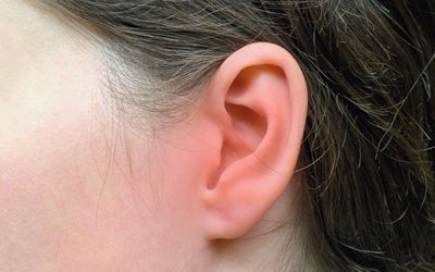 Close-up of a white person's ear, which is reddened