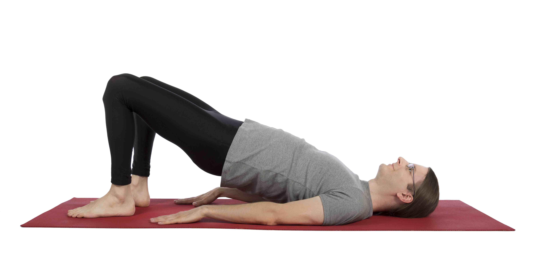 man doing Hip Bridge Exercise - Height for Beginners