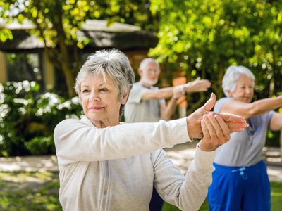 a group of seniors exercising