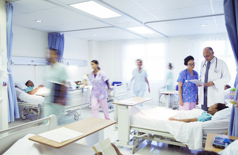 Multiple patients, doctors, and nurses in a hospital