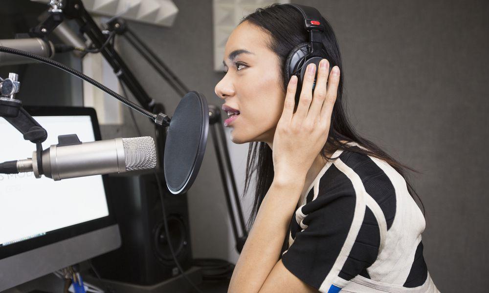 Transgender woman speaking on radio