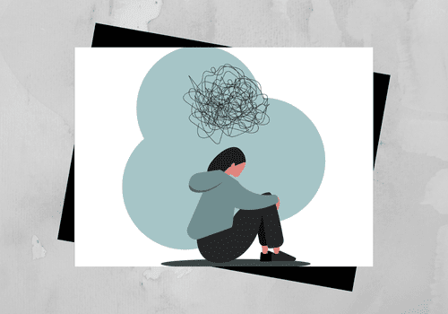 Illustration of person struggling with mental health.
