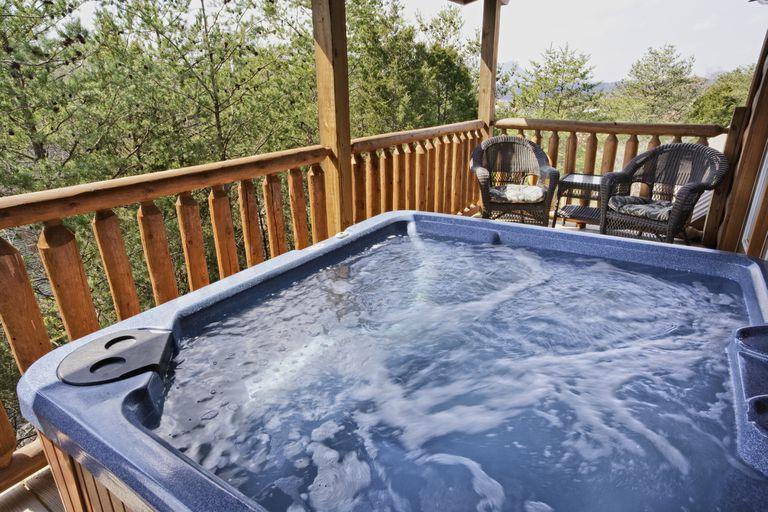 Empty hot tub on a deck