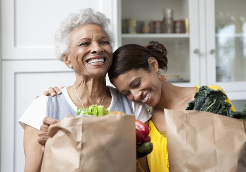 Older mother and adult daughter with shopping bags of food, food subsidies for Medicare/Medicaid