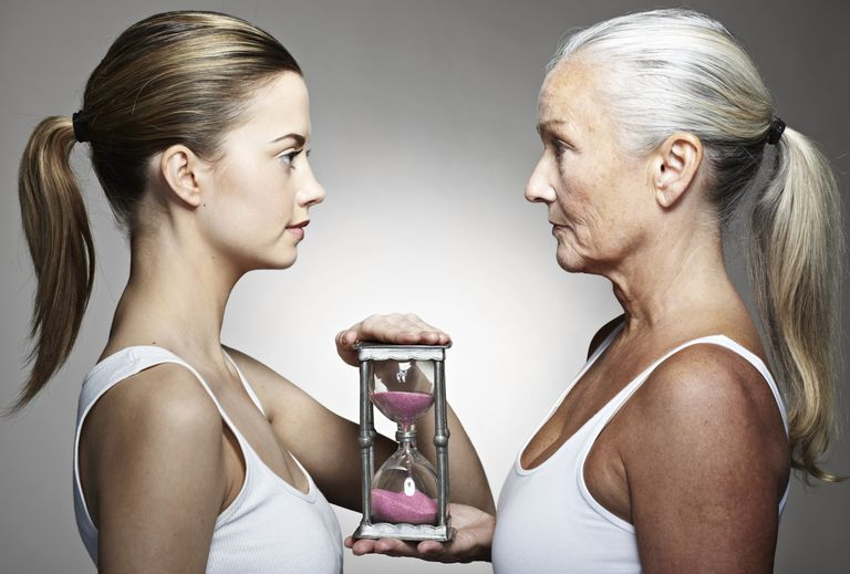 young and old women facing each other and holding an hour glass